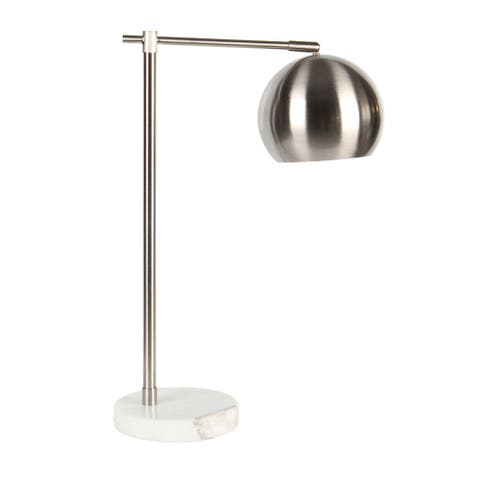 """Metal Round Task Table Lamp, Silver, 22"""""""