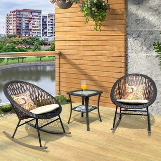 Ovios 3 Piece Patio Rocking Bistro Set,Patio Outdoor Furniture, Porche Rocking Chairs Conversation Sets with Glass Coffee Table