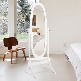Costway Swivel Full Length Ovel Mirror Wooden Cheval Floor Free Standing Dressing White