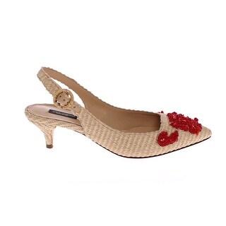 Dolce & Gabbana Beige Red Corals Slingbacks Pumps Shoes - 36