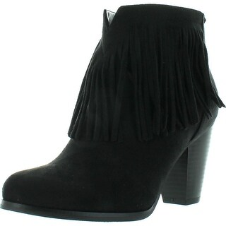 Soda Women's Agree Cowboy Fringe Faux Suede Closed Toe Stacked Heel Ankle Boot