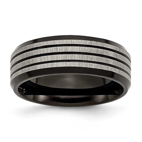 Titanium 8mm Black-plated & Striped Polished Band
