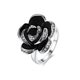 White Gold Plated Onyx Floral Petal Ring