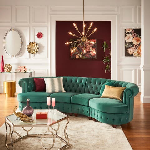 Morgan Velvet Tufted Scroll Arm Chesterfield 4-Seat Curved Sofa by iNSPIRE Q Bold