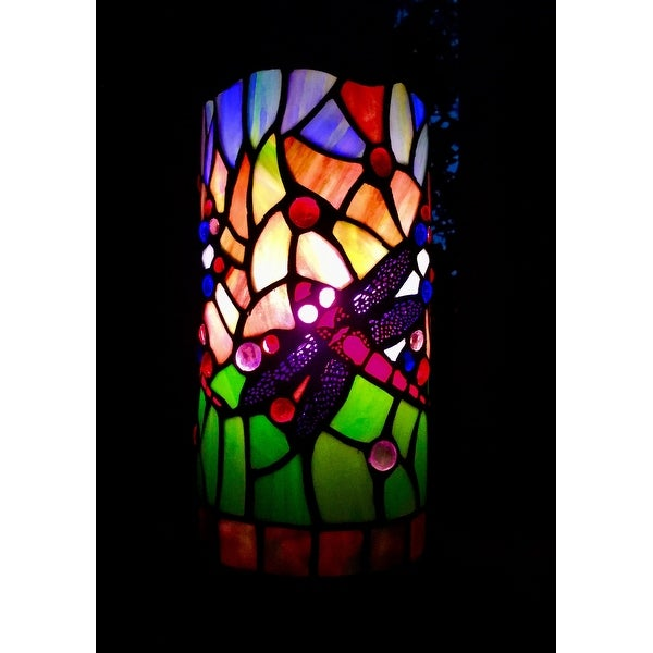 Super Dragonfly Handcrafted Stained Glass Tiffany Style Mini Table Lamp  QI57