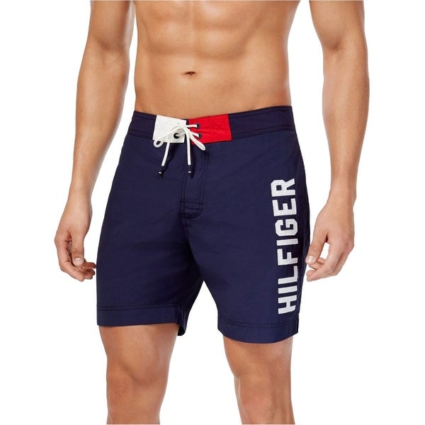 4ad3d7b9a741b Shop Tommy Hilfiger Navy Blue Mens Large L Drawstring Trunks Swimwear -  Free Shipping On Orders Over $45 - Overstock - 28259460