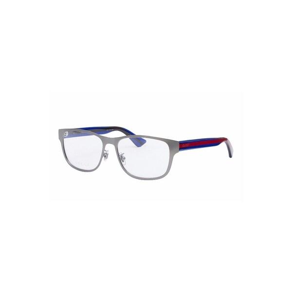 68757305f3b Shop Gucci Unisex Rectangular Optical Glasses In Silver Blue