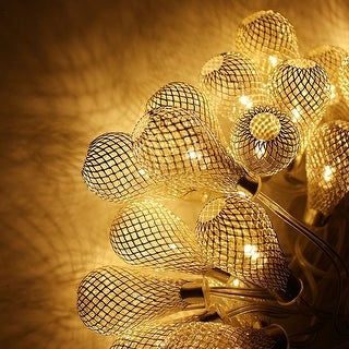 Link to 29ft 40 LED Fairy String Lights with 40 Iron Rattan Teardrop Balls - 1PACK Similar Items in String Lights