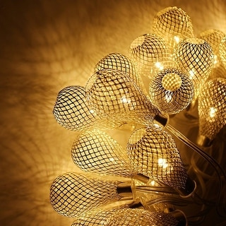 29ft 40 LED Fairy String Lights with 40 Iron Rattan Teardrop Balls - 1PACK