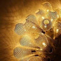 Xmas 29ft 40 LED Mesh Ball Fairy String Lights LED Christmas Lights, Warm White, Raindrop Ball For Party, Wedding, Holiday