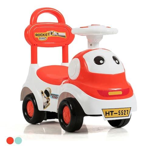 Gymax 3-In-1 Baby Walker Sliding Car Pushing Cart Toddler Ride On Toy W/ Sound Orange/Green