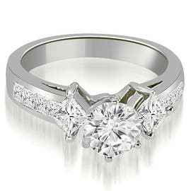 1.50 cttw. 14K White Gold Channel Princess and Round Diamond Engagement Ring (Option: 3) https://ak1.ostkcdn.com/images/products/is/images/direct/7f3740e40c9c6564a318abcbb22c7918ef080722/1.50-cttw.-14K-White-Gold-Channel-Princess-and-Round-Diamond-Engagement-Ring.jpg?impolicy=medium