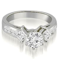 1.50 cttw. 14K White Gold Channel Princess and Round Diamond Engagement Ring SI1-2 HI