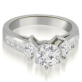 1.50 cttw. 14K White Gold Channel Princess and Round Diamond Engagement Ring (More options available)
