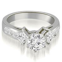 2.00 cttw. 14K White Gold Channel Princess and Round Diamond Engagement Ring