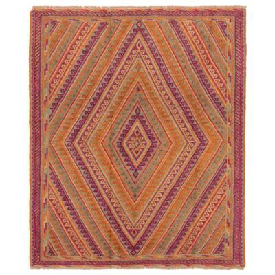 ECARPETGALLERY Hand-knotted Tajik Caucasian Orange, Purple Wool Rug - 5'0 x 5'11