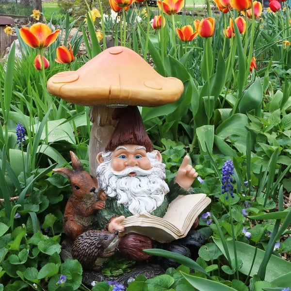 Sunnydaze Bookworm Bernard the Garden Gnome with Mushroom and Solar Light