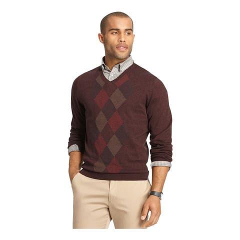 Van Heusen Mens Feeder-Stripe Diamond V Neck Pullover Sweater