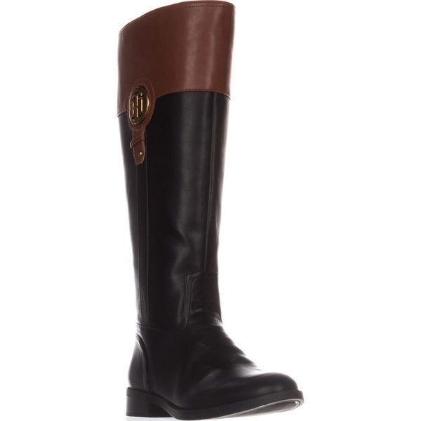 Tommy Hilfiger Ilia2 Wide Calf Riding Boots, Black Multi
