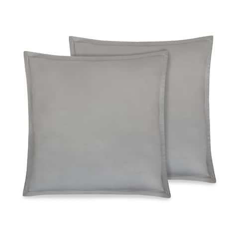 """Delara GOTS Certified 100% Organic Cotton 2 Inch Flange Euro Sham Set of 2, 26""""X26"""", Monique Grey"""