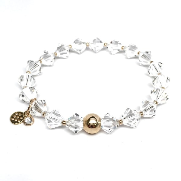 "April Birthstone Color White Crystal Rachel 7"" Bracelet"