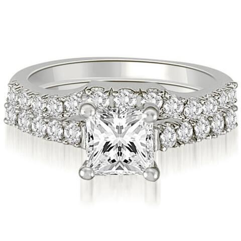 1.00 CT Lucida Princess & Round Cut Diamond Bridal Set in 14KT Gold - White H-I