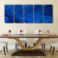 Statements2000 Blue 5 Panel Metal Wall Art Painting by Jon Allen - Blue Ripple Effect