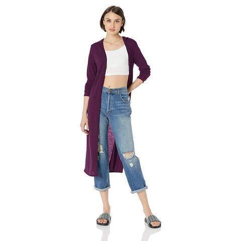 Lyss Loo Women's Timeless Touch Long-Line Hooded, Purple,, Purple, Size Medium