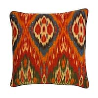Vivai Home Orange Multi Color Bombay Abstract 18x 18 Square Feather Pillow