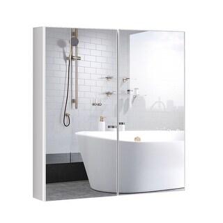 Costway Bathroom Cabinet Medicine Cabinet Wall Mount Double Door with Shelf and Mirror