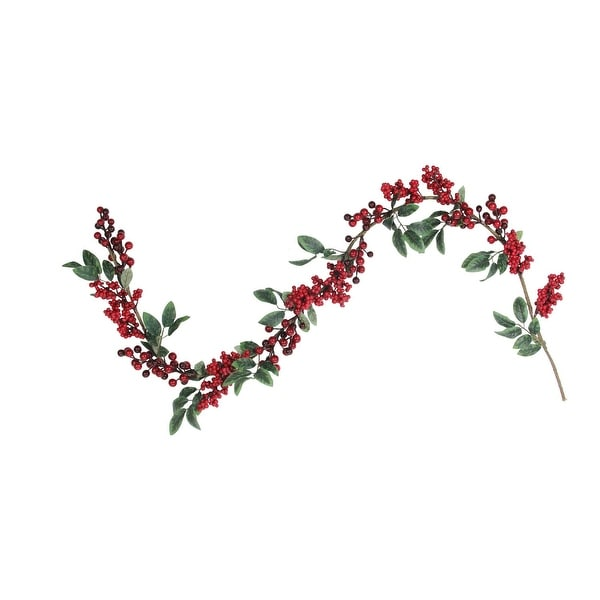 5' Large and Small Berries with Leaves Christmas Garland - Unlit - green