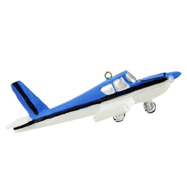 "4"" White and Blue Striped Aerodynamic Transportation Plane Christmas Ornament"