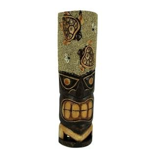 Hand Carved Wood Tiki Mask Sand and Sea Turtles Island Art Wall Hanging