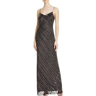 Adrianna Papell Womens Evening Dress Chiffon Beaded