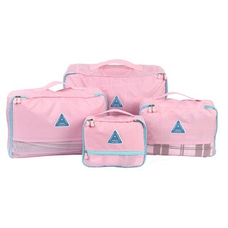 4Pcs Water Resistant Clothes Stroge Bags Packing Cube Travel Luggage Organizer Pouch - Pink