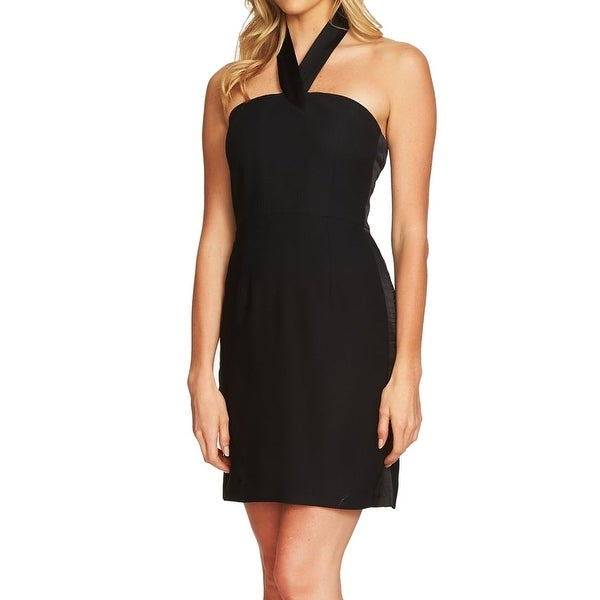 2b2dd7883fc9a Shop CeCe Solid Black Satin Trim Halter Women's Size 12 Sheath Dress - On  Sale - Free Shipping On Orders Over $45 - Overstock - 27149743