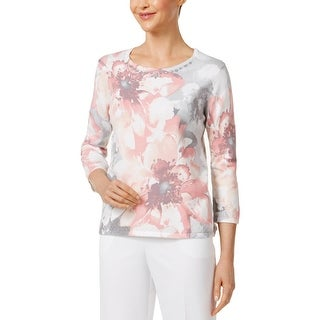 Alfred Dunner Womens Petites Blouse Embellished Long Sleeves