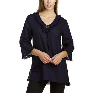 August Silk Women's 3/4 Sleeve V-Neck Tunic With Side Slits