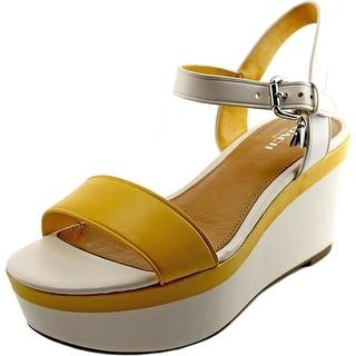 Coach Brittanie   Open Toe Leather  Wedge Sandal