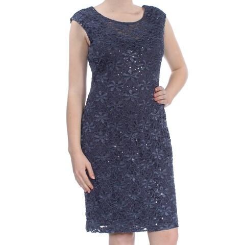 CONNECTED Womens Navy Sequin Lace Cap Sleeve Scoop Neck Knee Length Sheath Party Dress Size: 12