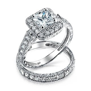 Link to 1CT Princess AAA CZ Engagement Wedding Ring Set 14K Plated 925 Silver Similar Items in Rings