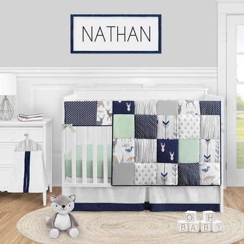 Woodland Arrow Deer Collection Boy or Girl 5-piece Nursery Crib Bedding Set - Navy Blue Mint and Grey Woodsy