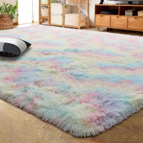 Lochas Luxury Velvet Shag Area Rug Mordern Indoor Plush Fluffy Rugs,Cute Rainbow Rugs for Girls Kids Nursery Classroom