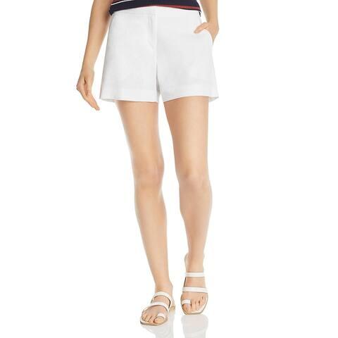 Theory Womens Lynie High-Waist Shorts Linen Blend Casual - Optic White