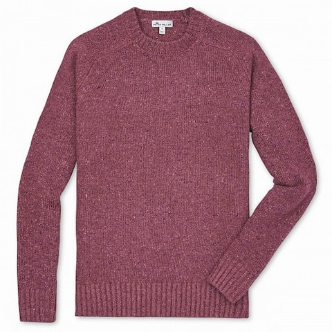 Peter Millar Mens Sweater Red Size XL Speckled Knit Ribbed Crewneck
