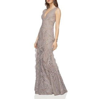BCBG Max Azria Womens Aislinn Evening Dress Ruffled Lace