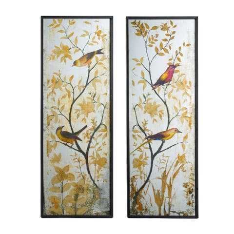 Antique Mirror Birds in Nature Wall Art Panels (Set of 2)
