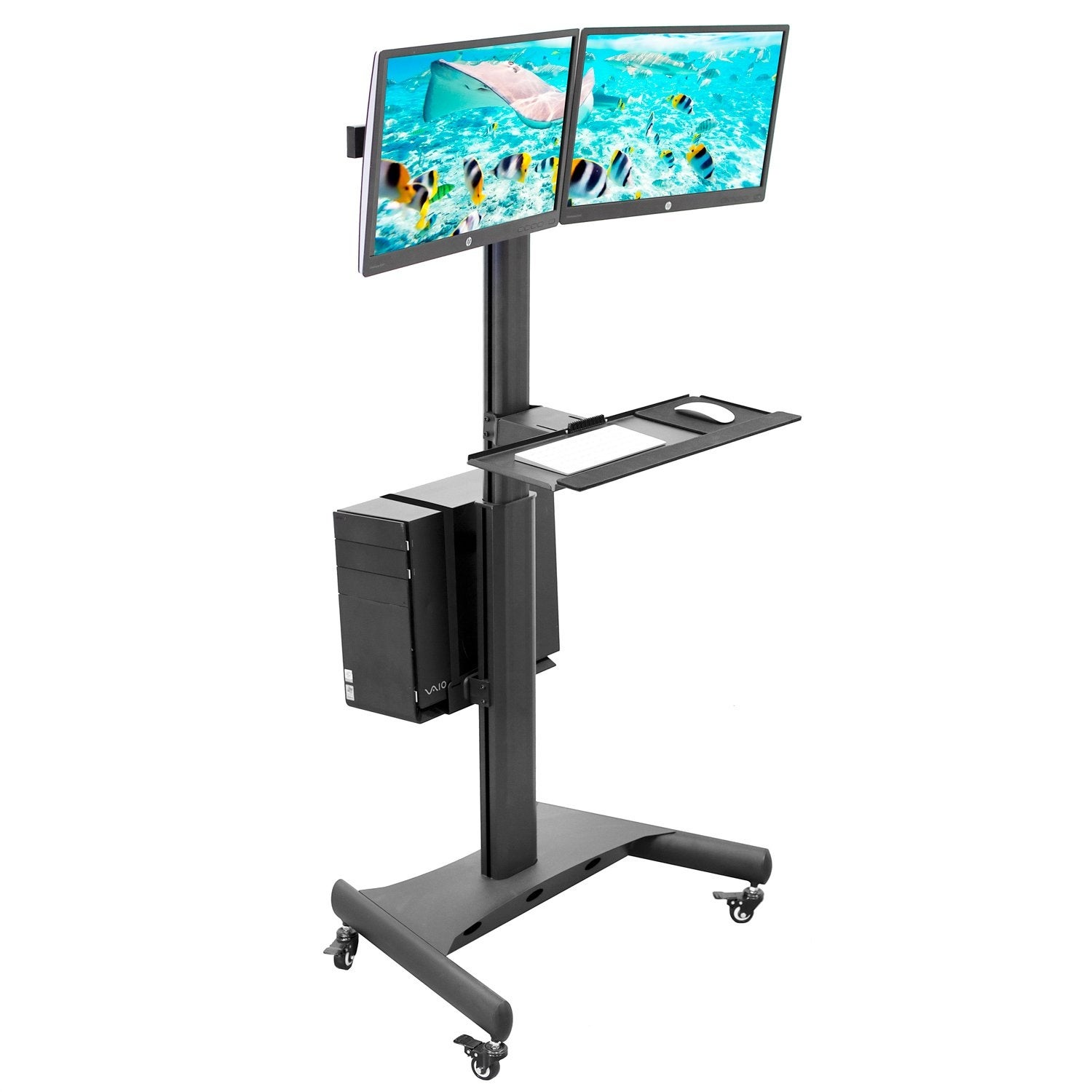 Mount It Mobile Pc Desktop Workstation For Dual Monitor Desk Mount Desk For 13 To 32 Inches Screens 17 6 Lbs Weight Capacity Overstock 29951965