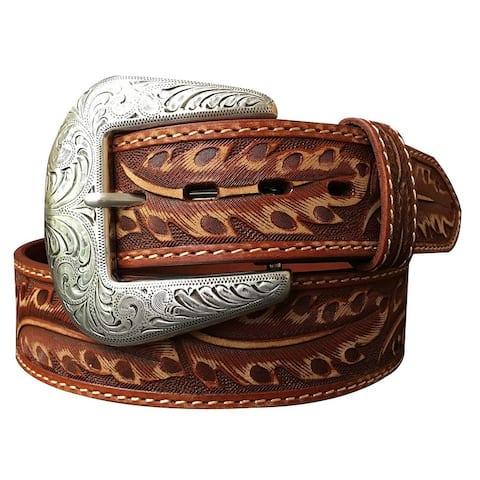 Roper Western Belt Mens Hand Tooled Feather Design Daybreak