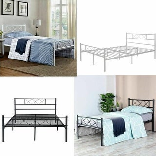 Twin/Full Size Easy Set-up  Premium Metal Bed Frame Platform Mattress Foundation with Headboard ,Multiple Colors.